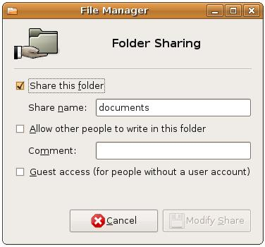 Configuring folder share options after sharing services have been installed
