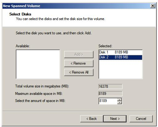 Two disks selected for a Windows Server 2008 Spanned Volume