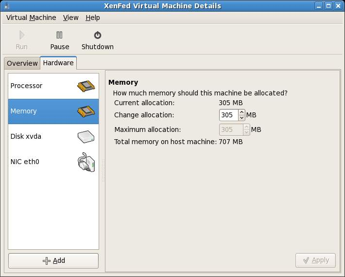 Xen Virtual Machine Details - Memory