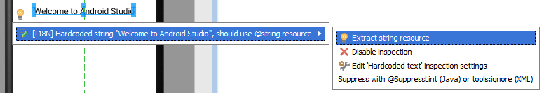 Extracting a string resource from a layout file in Android Studio