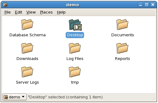 The CentOS GNOME File Manager in icon mode