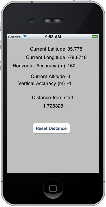 An iOS 4 iPhone location application running