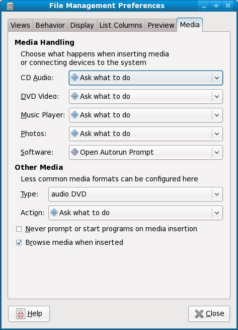Configuring Fedora File Manager media settings