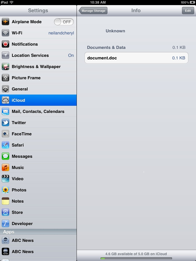 Configuring iCloud Settings on an iPad