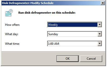 Scheduling automated defragmentation