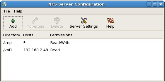 The RHEL NFS configuration tool listing configured shares