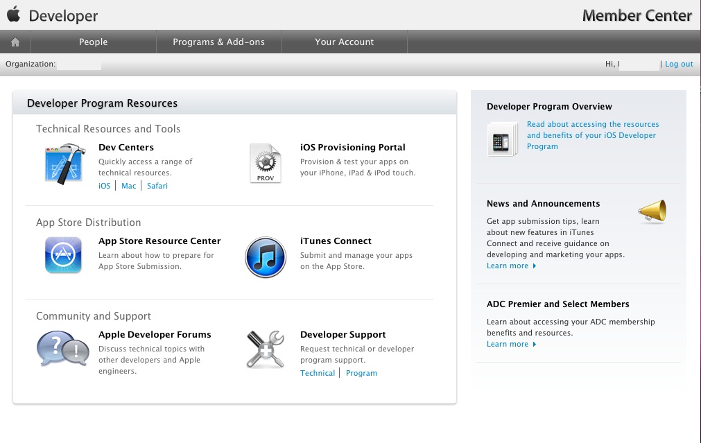 The iOS Developer Member Center web page