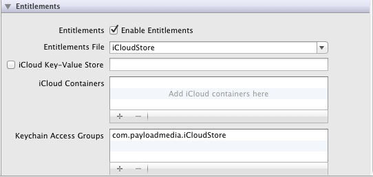 Enabling iCloud storage for an iOS 5 app in Xcode