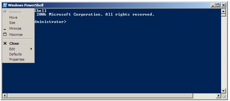 Displaying the PowerShell 1.0 window menu