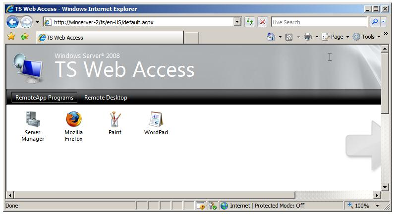 Windows Server 2008 TS Web Access web page
