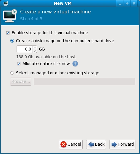 Configuring storage for a KVM VM