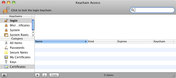 The Mac OS X Keychain Access utility