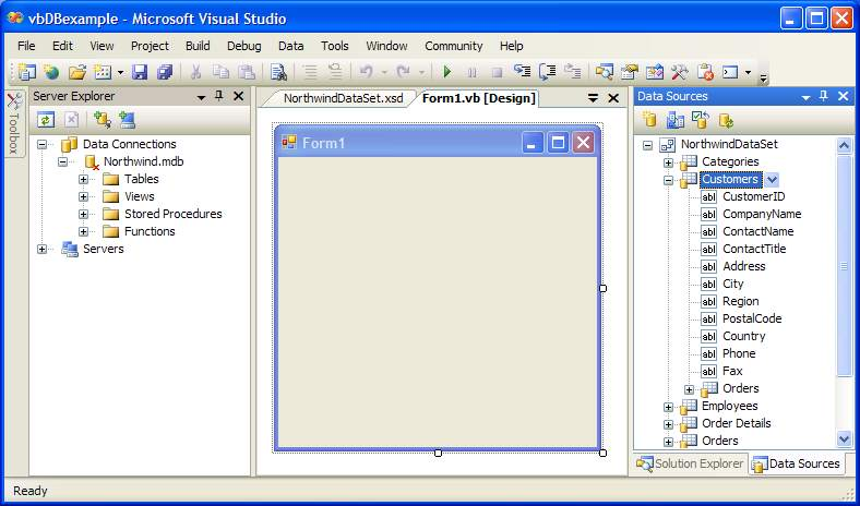 Visual Studio Data Sources Panel