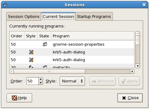 The CentOS desktop Current Sessions configuration screen