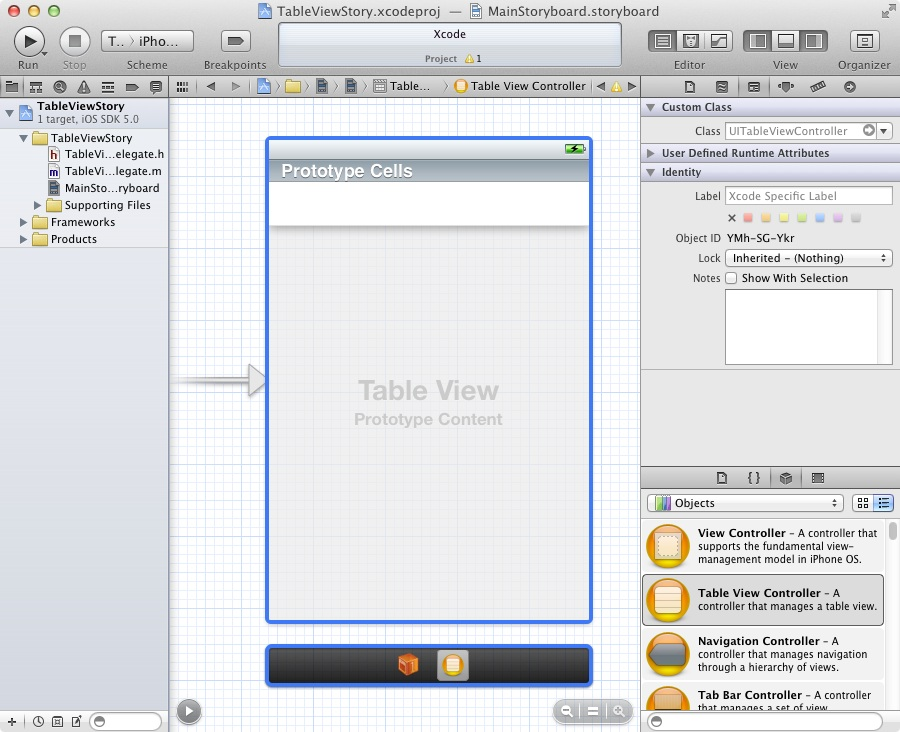 An Xcode storyboard containing a table view controller
