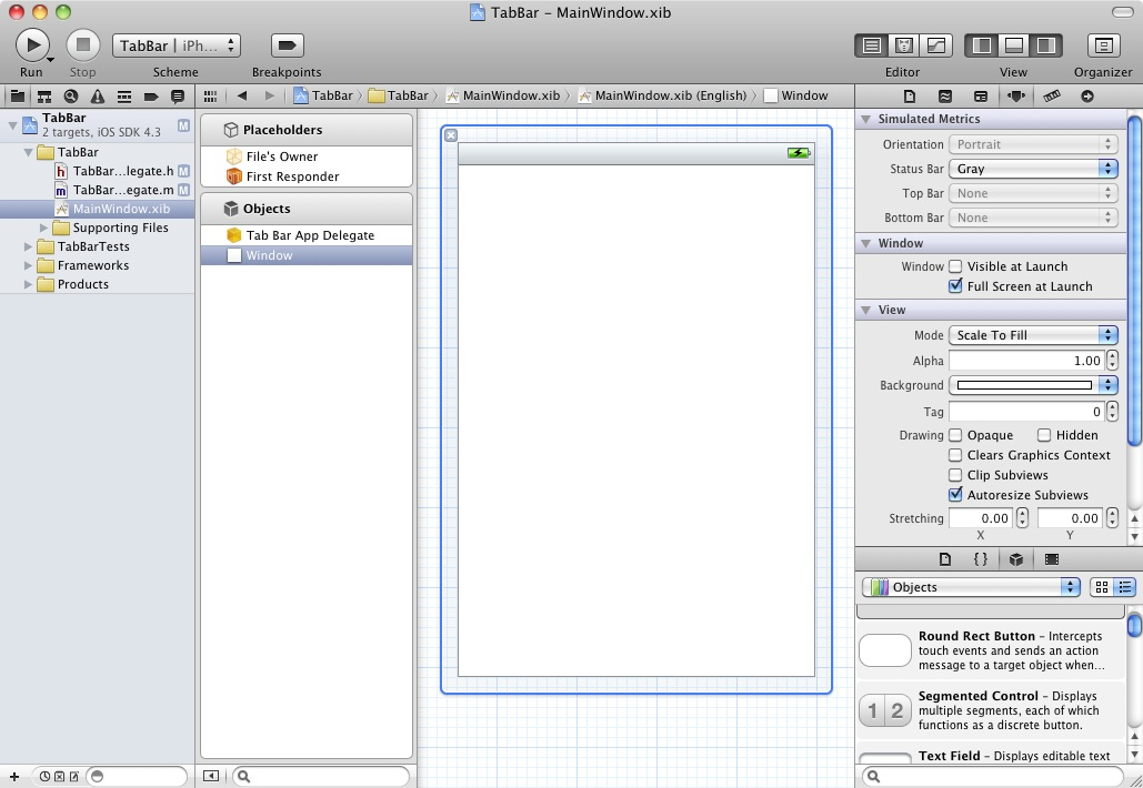 Xcode 4 ready for the addition of a Tab Bar