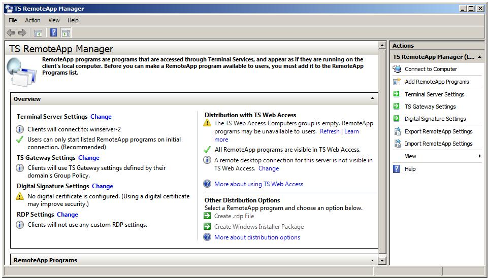 The Windows Server 2008 TS RemoteApp manager Tool