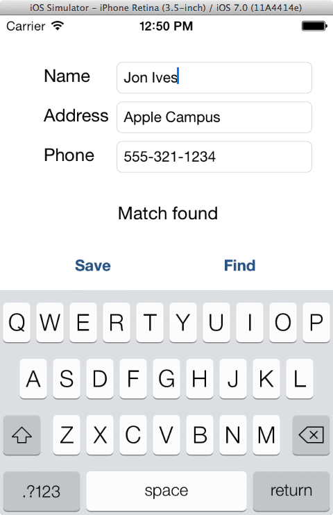 An example iOS 7 SQLlite app running