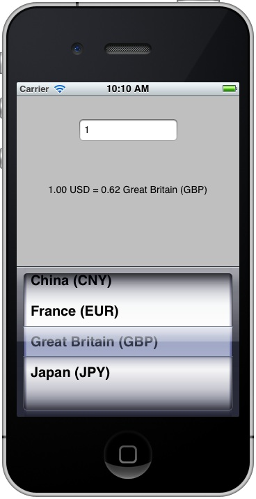 An example iOS 5 iPhone UIPickerView application running