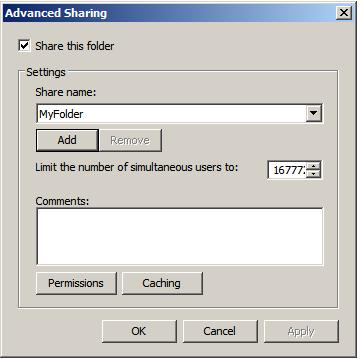 Configuring advance file and folder share settings