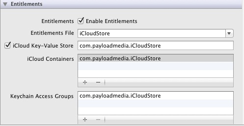 Setting key-value iCloud entitlements in Xcode