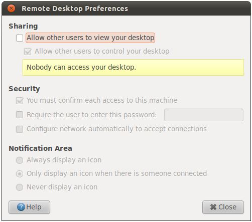 The Ubuntu 11.04 Remote Desktop Preferences dialog