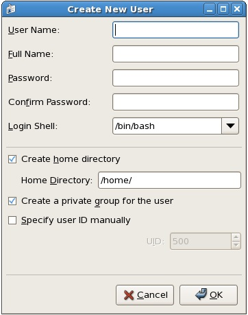 Adding a new user to an RHEL 5 system