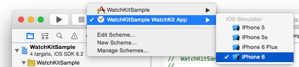 Selecting the Watchkit extension as the run target