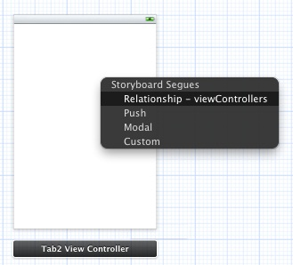 Establishing an Xcode storyboard tab bar controller and view controller relationship