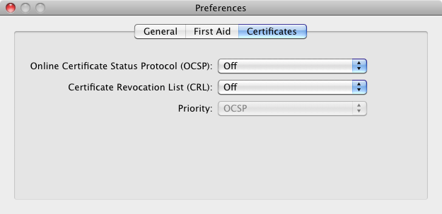 The Mac OS X Keychain Access Preferences window