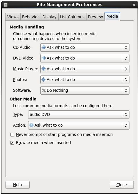 The RHEL 6 file manager media settings