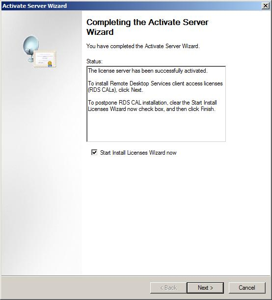 Windows Server 2008 R2 RD License Server Activated