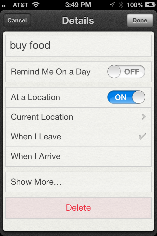 A location based reminder in the Reminders App