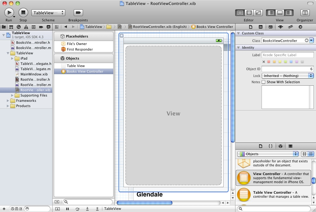 Changing the class of an iPad view controller in Xcode 4