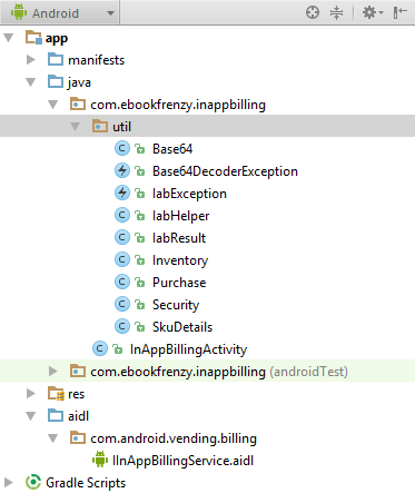 The hierarchy of a fully configured Android Studio in app billing project