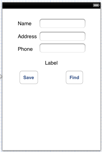 The user interface for an iPhone iOS 6 SQLite Database example