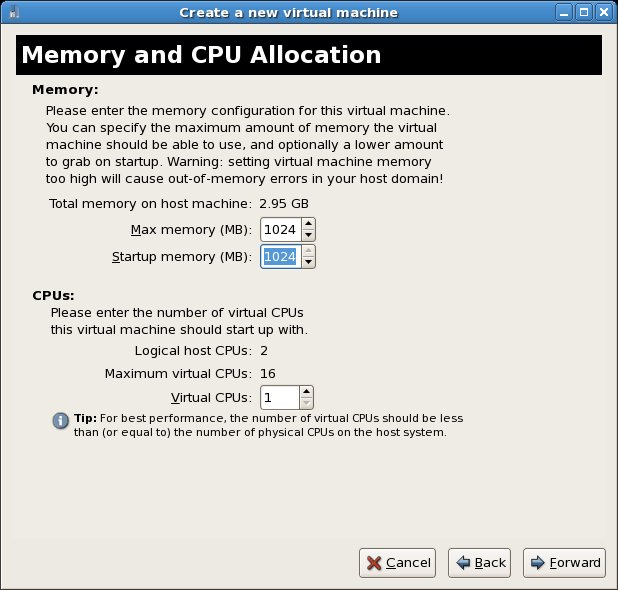New KVM based virtual machine memory and CPU settings