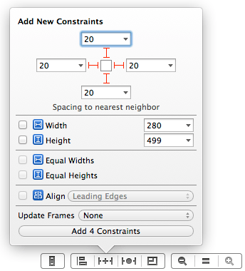 Using the Pin menu to set Auto Layout nearest neighbor constraints