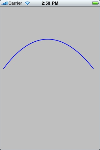 An quadratic Bézier Curve drawn using Quartz 2D on an iOS 4 based iPhone
