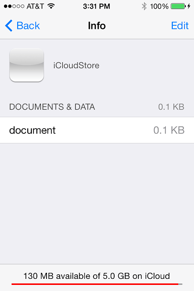iCloud documents and data in the iOS 7 settings app