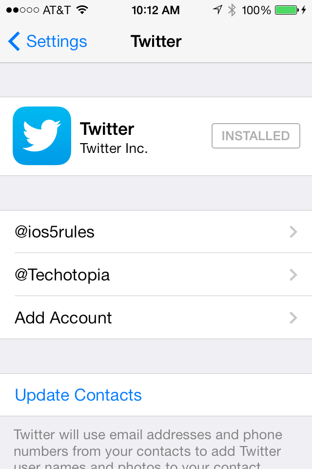 Configuring Twitter Accounts in iOS 7