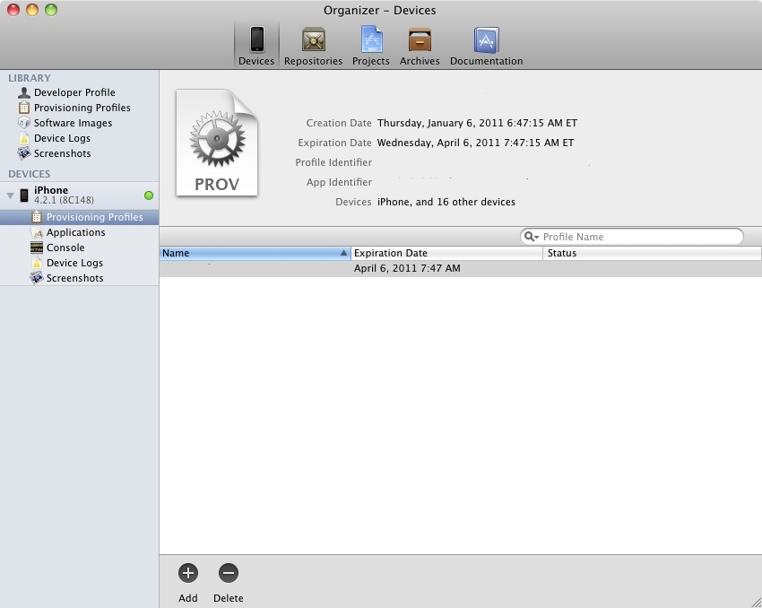 An iOS 5 iPhone provisioning profile installed in Xcode organizer window