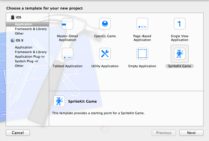Selecting the Xcode 5 Sprite Kit Game project template