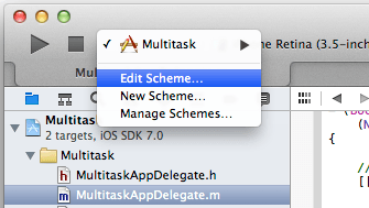 Editing a Project Scheme in Xcode 5
