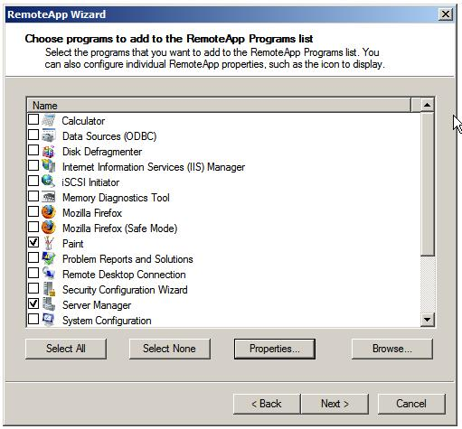 The Window Server 2008 RemoteApp wizard