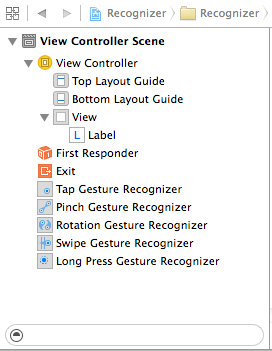 Gesture recognizers listed in the Xcode document outline panel