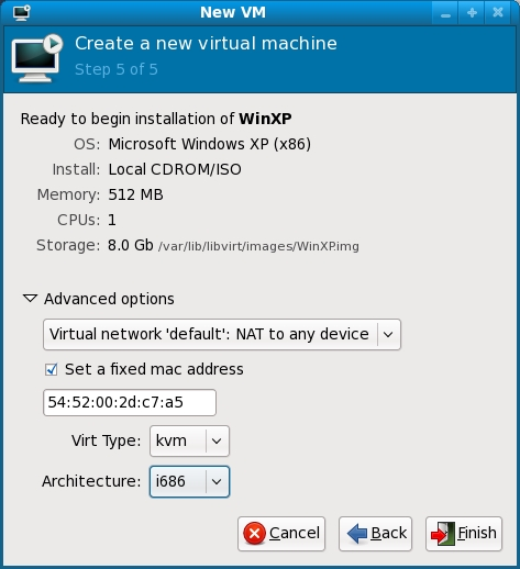 KVM settings summary
