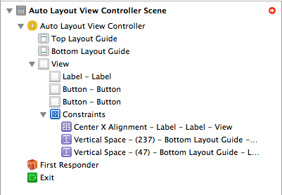 Auto Layout constraints in the Xcode 5 document outline panel
