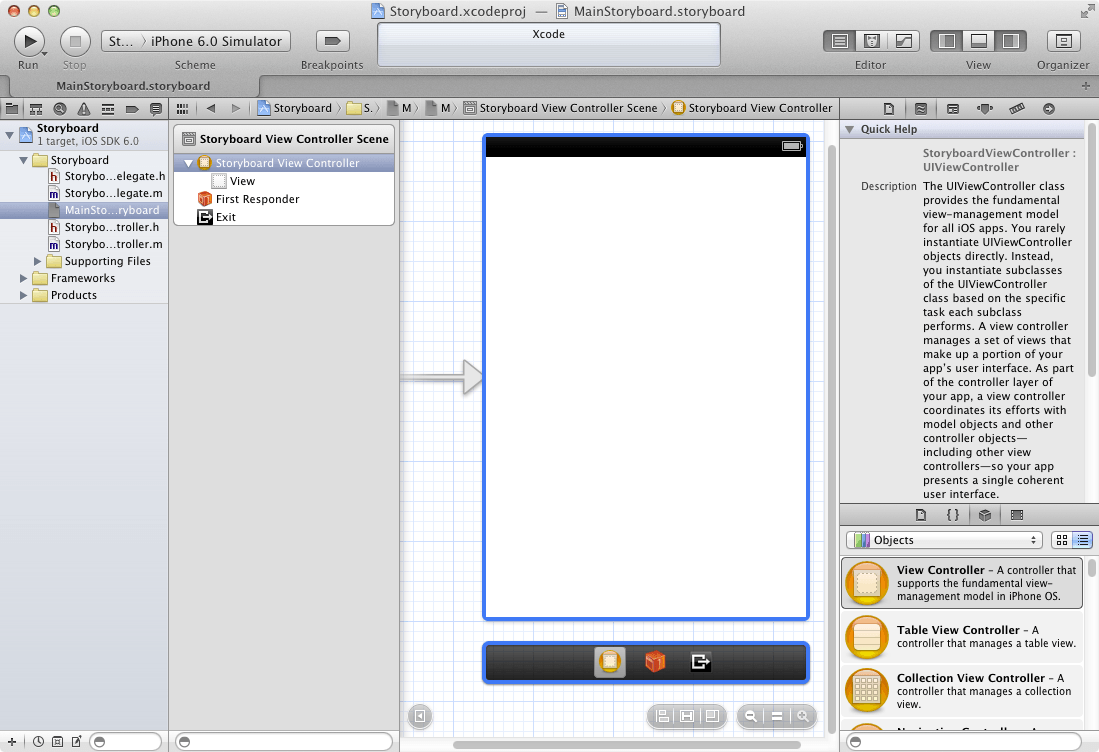 A scene in an Xcode Storyboard