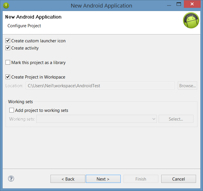 Configuring a new Android project